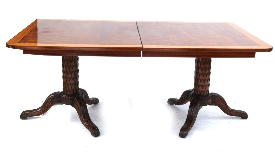 Double Pedestal Banded Dining Table