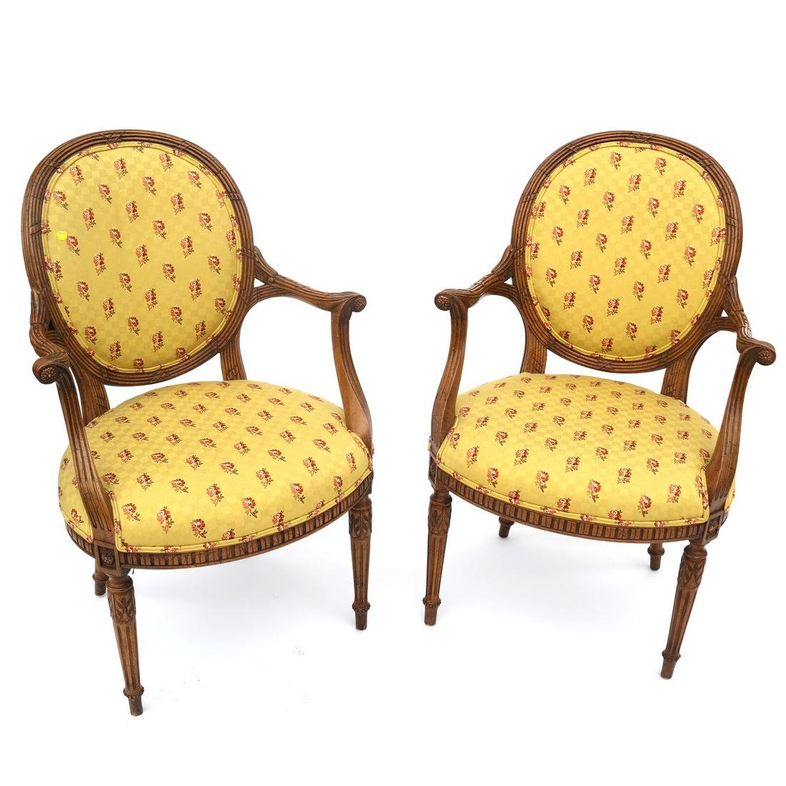 Pair of Fruitwood Floral Upholstered Armchairs