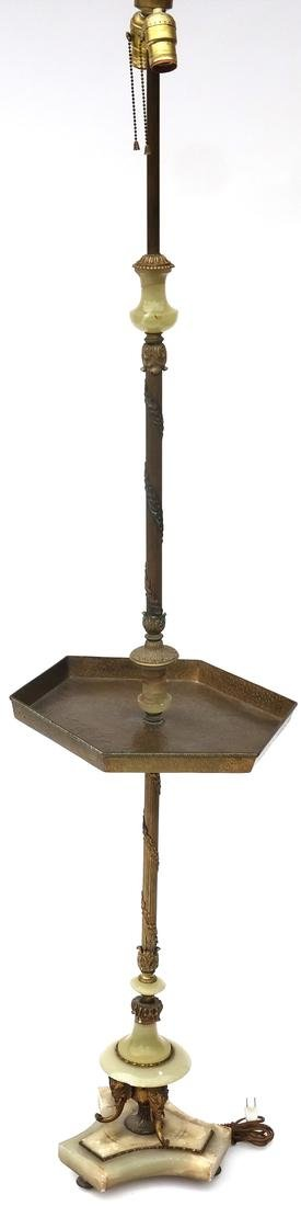 Classical-Style Onyx and Bronze Floor Lamp