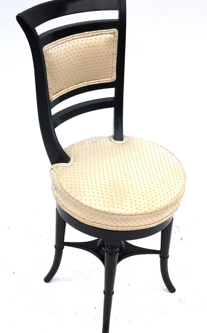 Faux Bamboo Black Swivel Piano Chair
