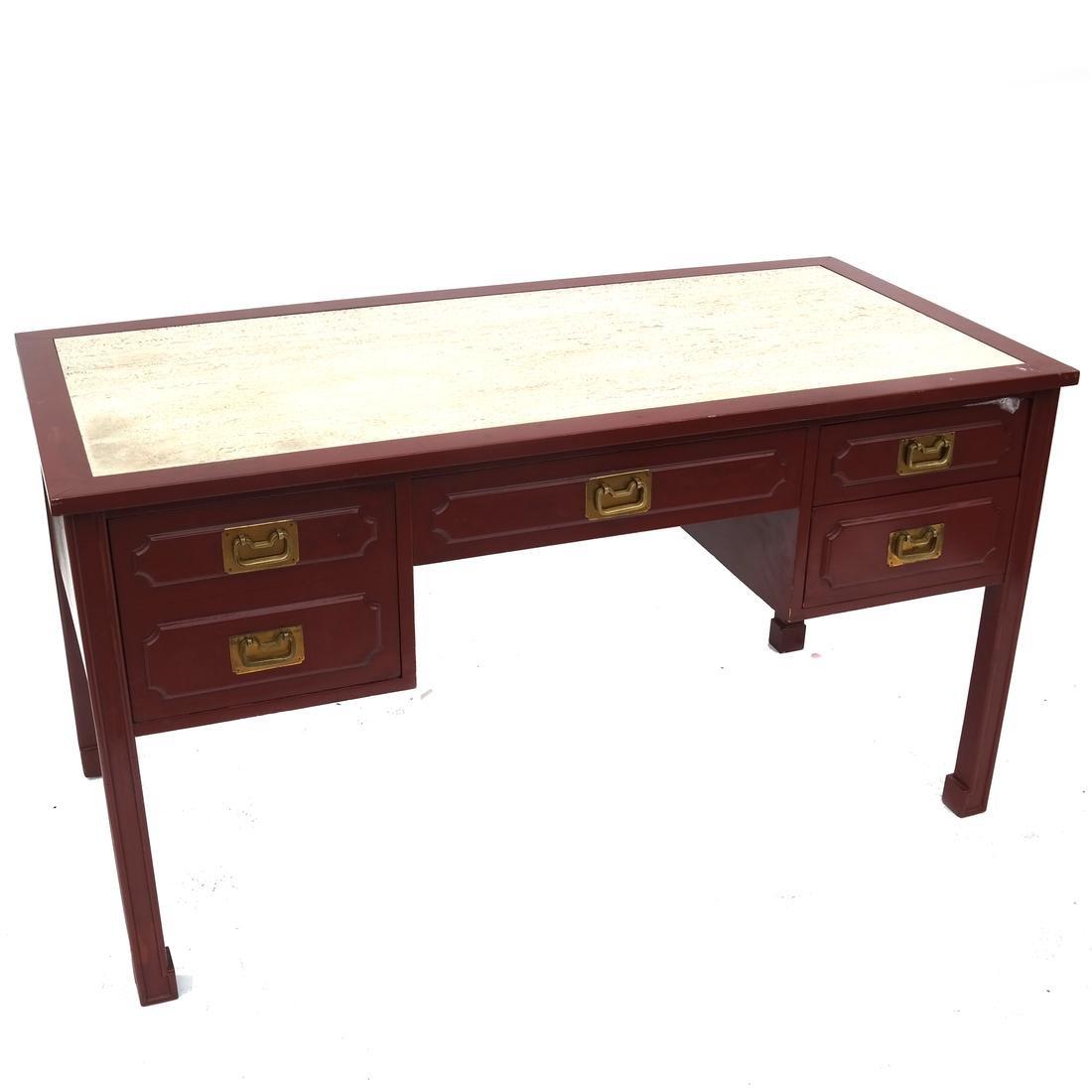 Asian-Style Red Granite Inset Desk