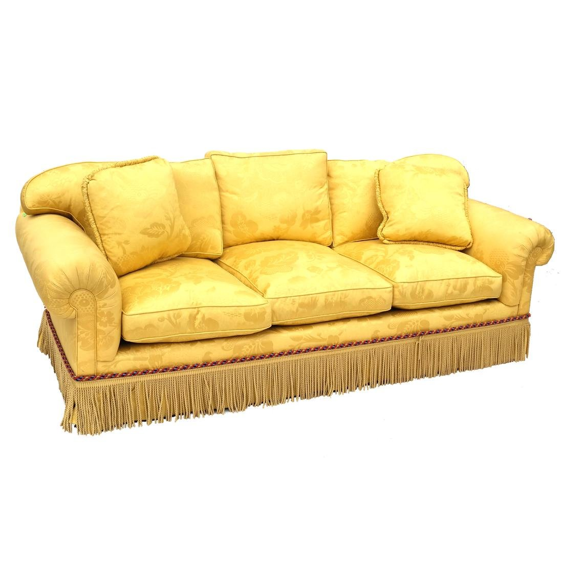 Contemporary Yellow Floral Decorated Upholstered Sofa