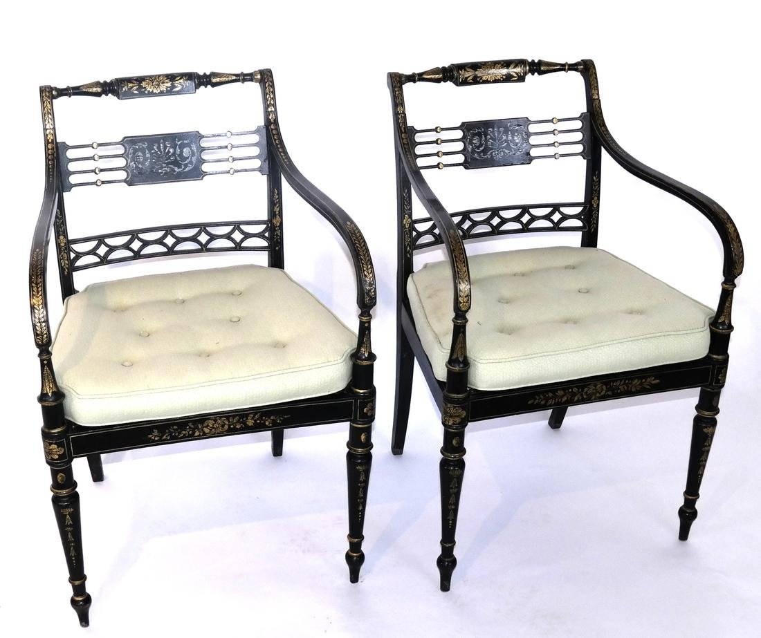 Pair of English Regency Stenciled Armchairs