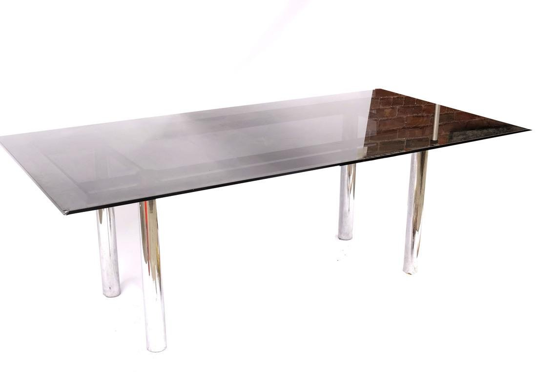 Modern Chrome and Smoked Glass Dining Table