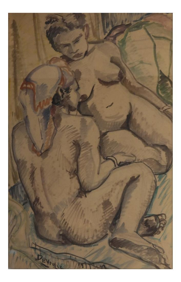 """Deyrolle (France) """"Two Nudes"""" Watercolor"""