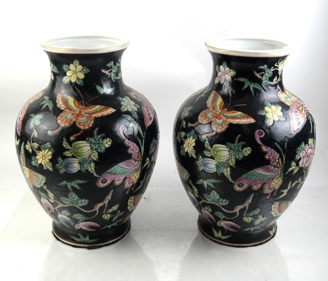 Pair of Chinese Porcelain Famille Noir Vases