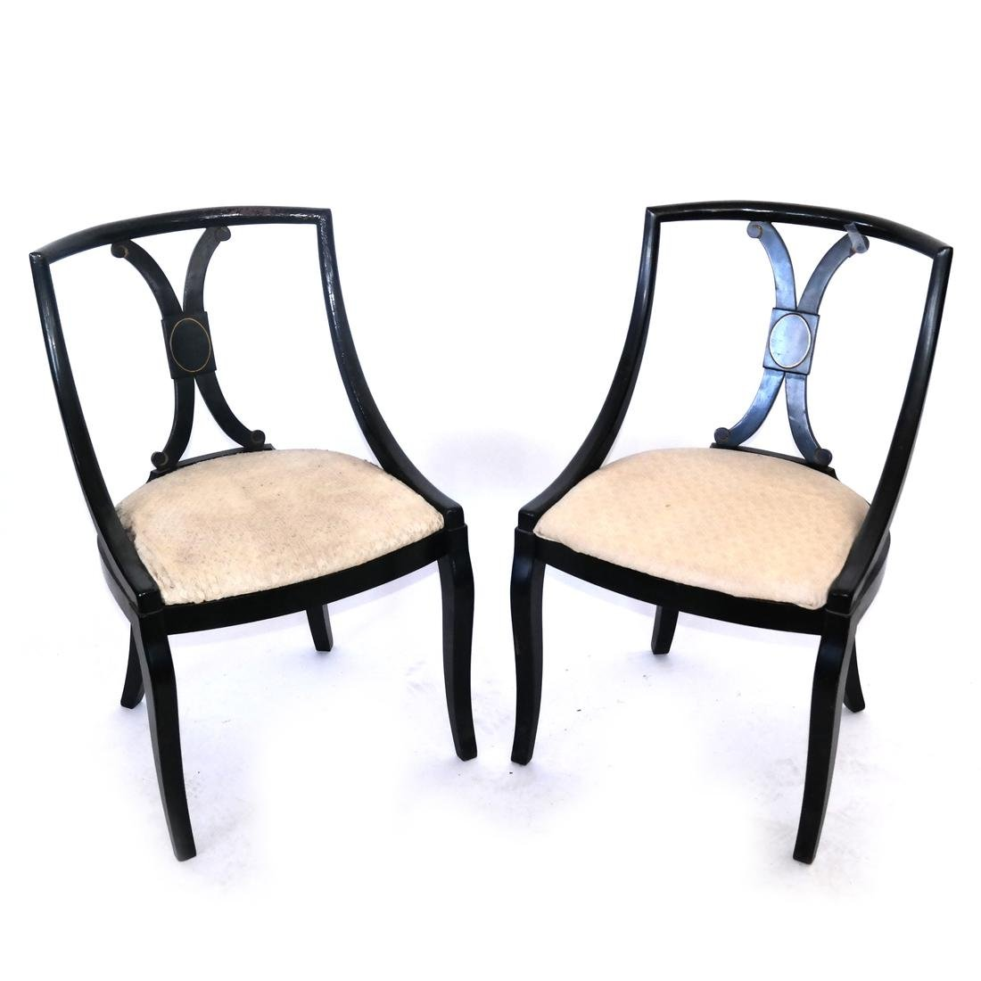 Pair of Regency-Style Black Chairs
