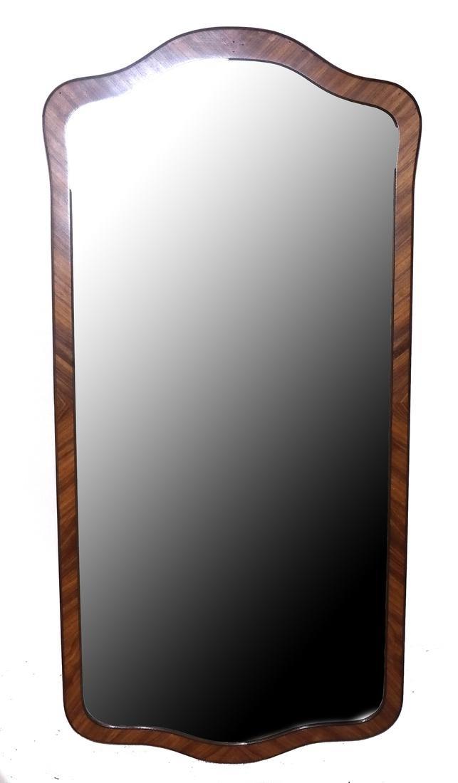French Satinwood Inlaid Beveled Mirror