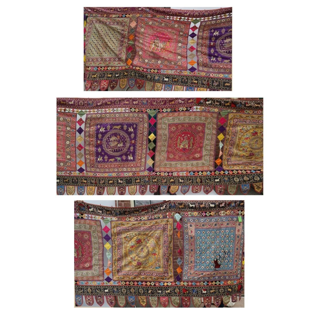 Remarkable Antique Indian Silk Embroidered Tent Panel