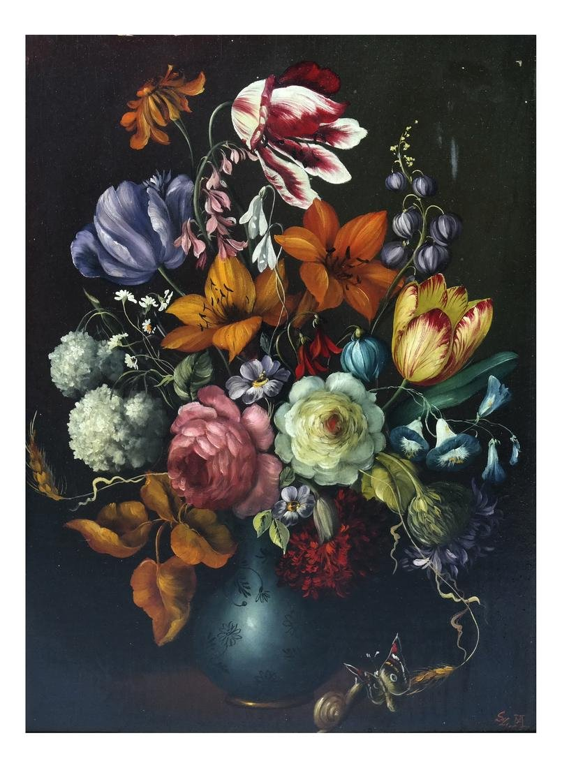 Contemporary Floral Still Life, Oil on Panel