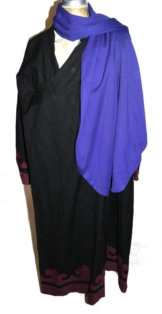 Antique Asian/Central Asian Black Wool Robe And A Shawl