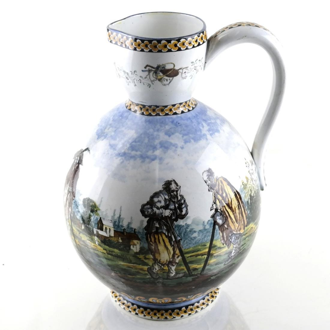 Dutch-Style Figural Decorated Pitcher