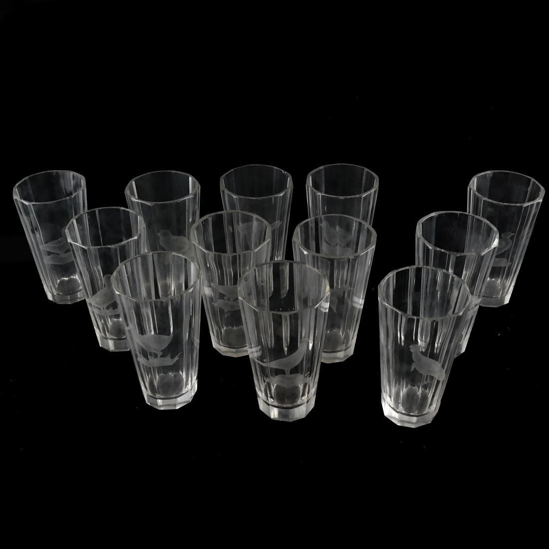 Set of 12 Water Glasses with Birds