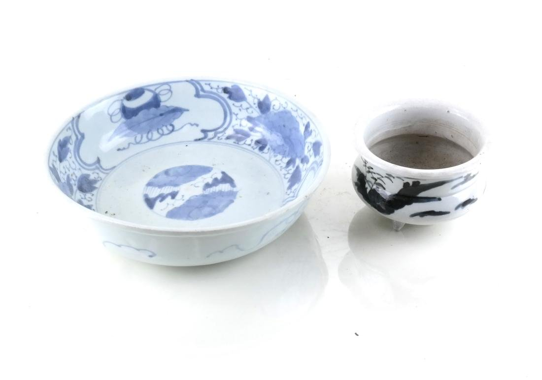 Two Asian Blue & White Bowls