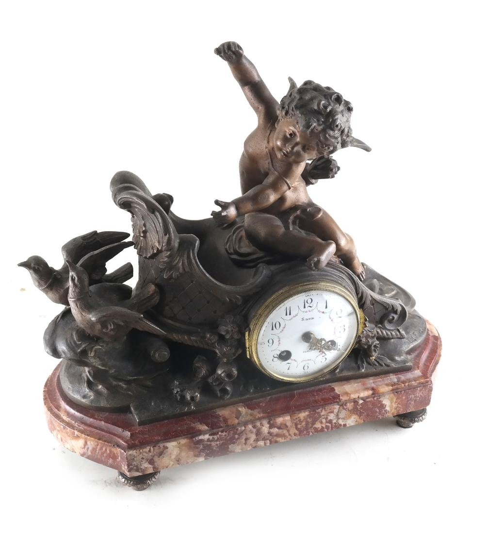 French Metal Cupid Mantle Clock
