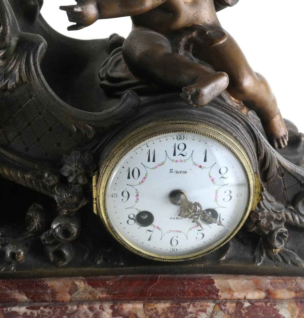 French Metal Cupid Mantle Clock - 2