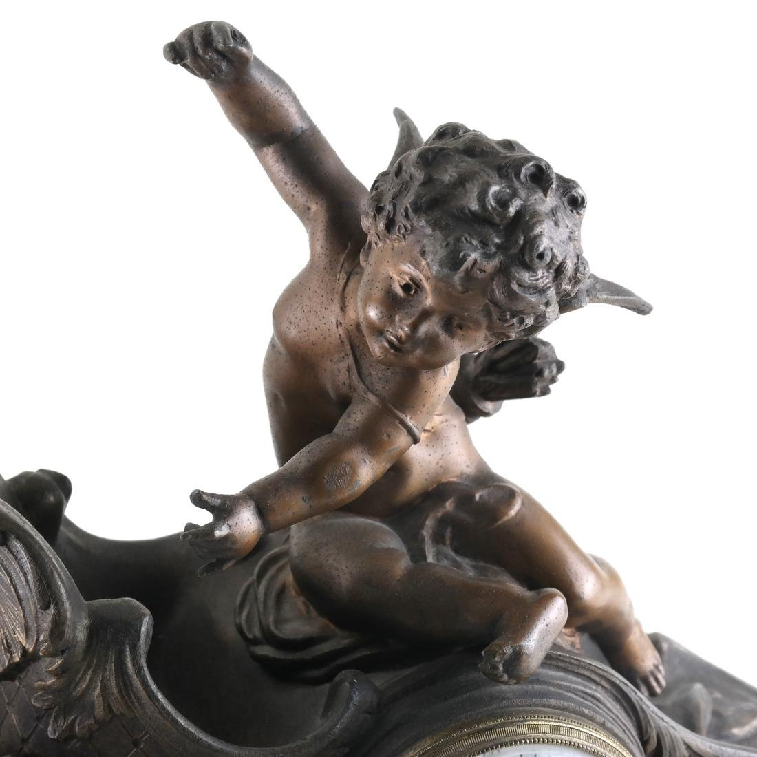 French Metal Cupid Mantle Clock - 3