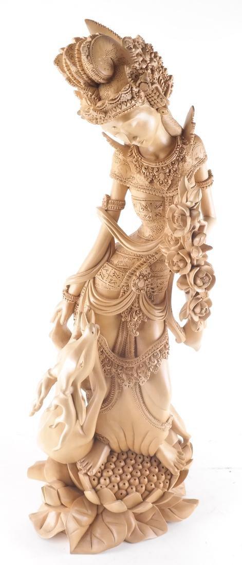 Thai Wood Sculpture, Woman and Deer