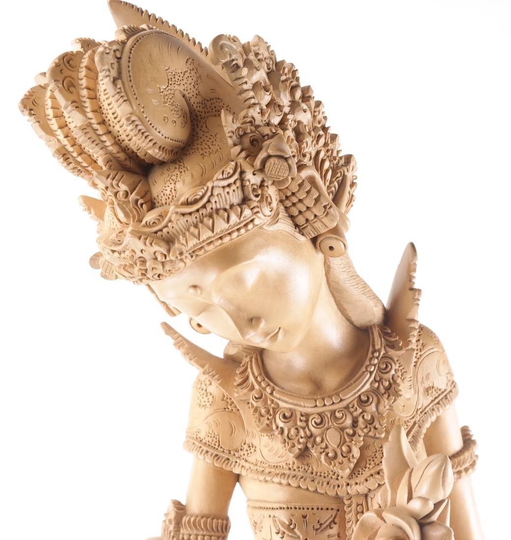Thai Wood Sculpture, Woman and Deer - 2
