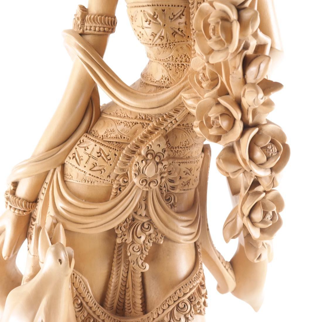 Thai Wood Sculpture, Woman and Deer - 3