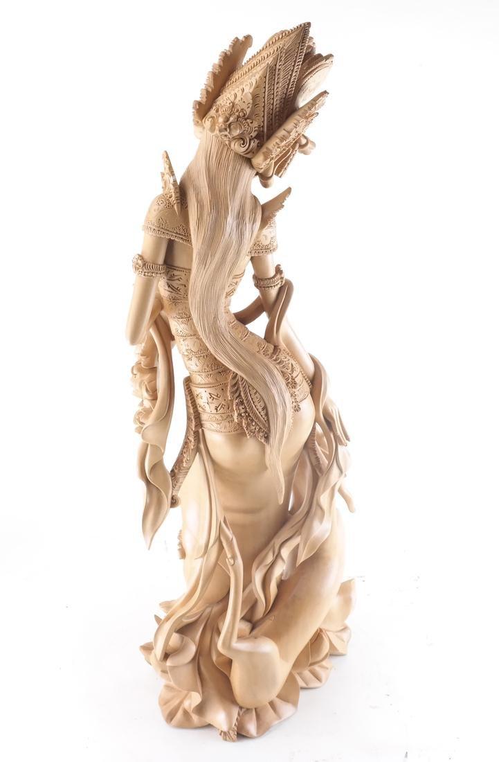 Thai Wood Sculpture, Woman and Deer - 5