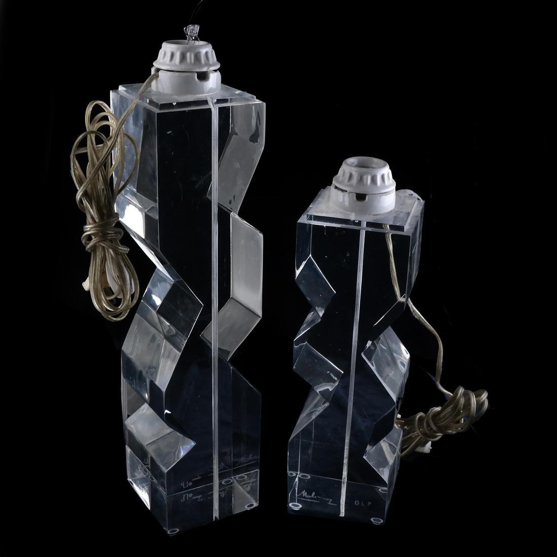 Two Lucite Skyscraper Lamps