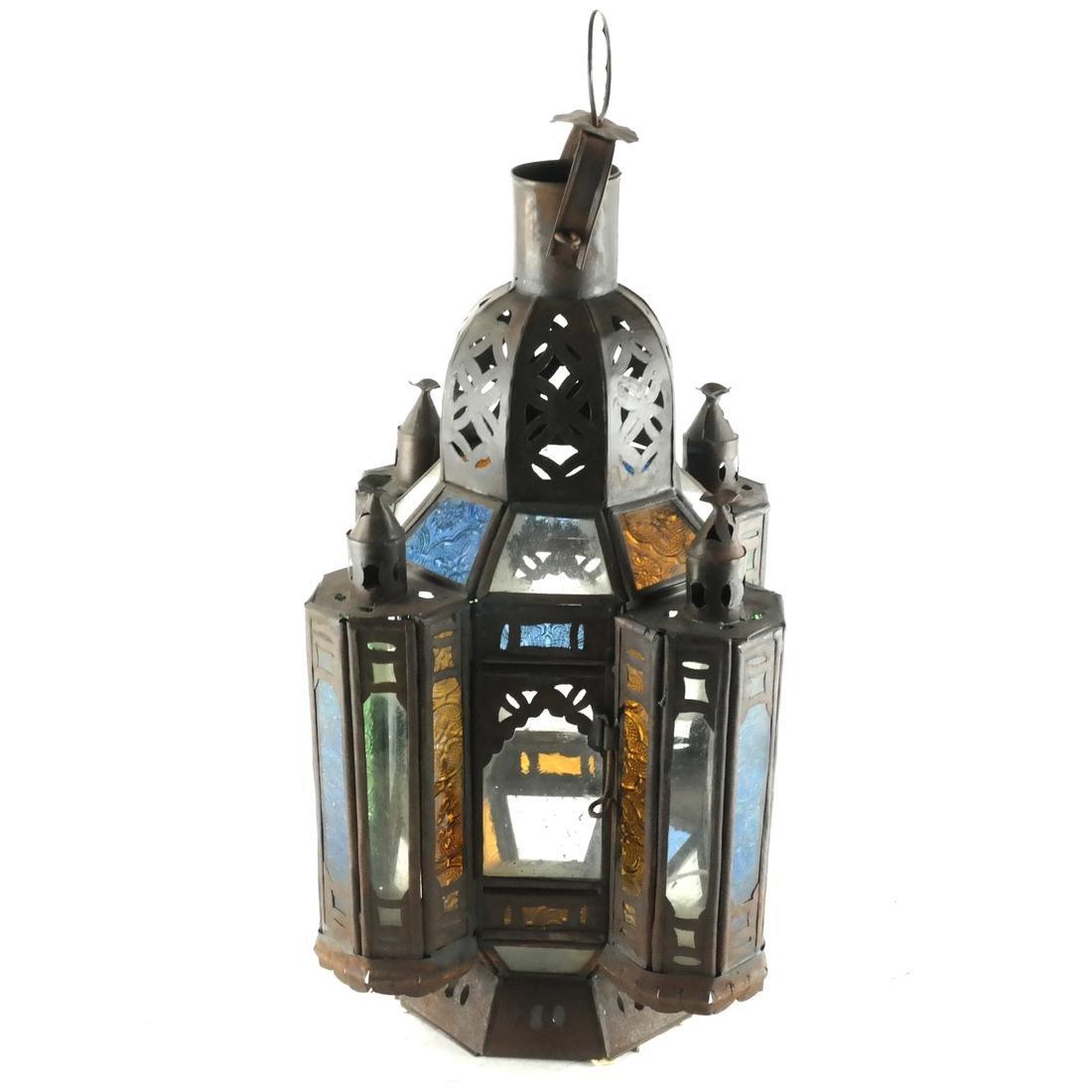 Turkish Colored Glass & Brass Lantern