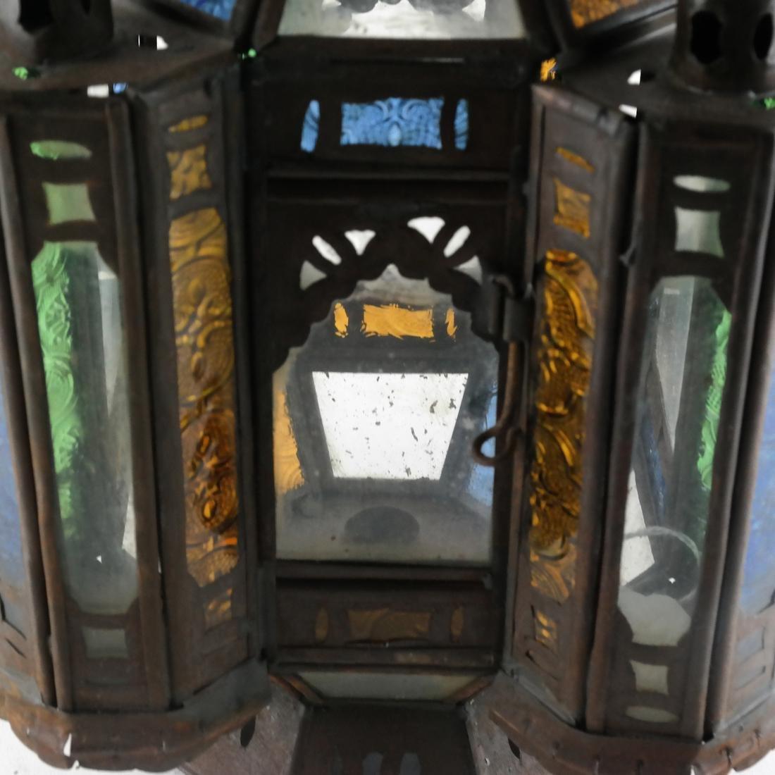 Turkish Colored Glass & Brass Lantern - 2