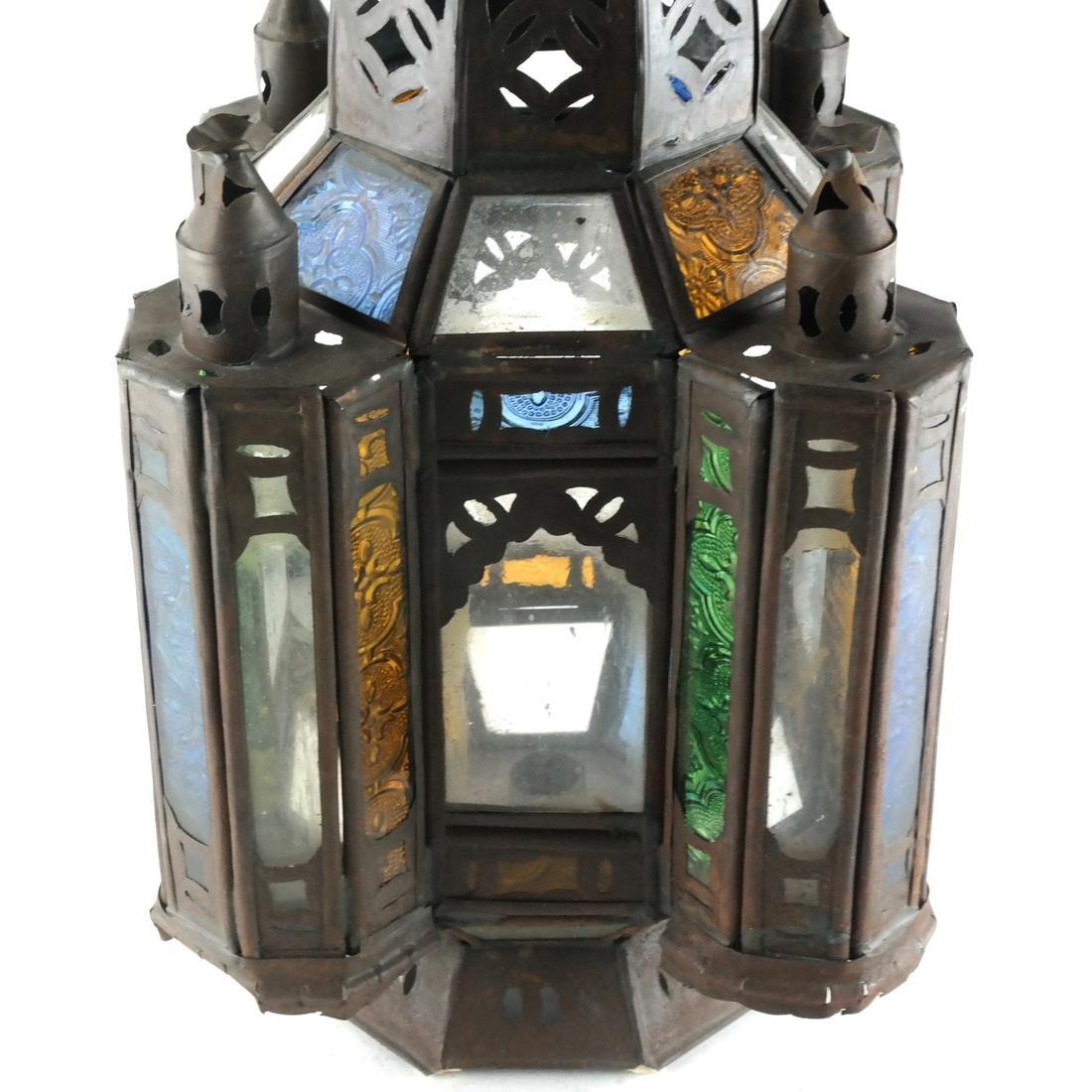 Turkish Colored Glass & Brass Lantern - 4