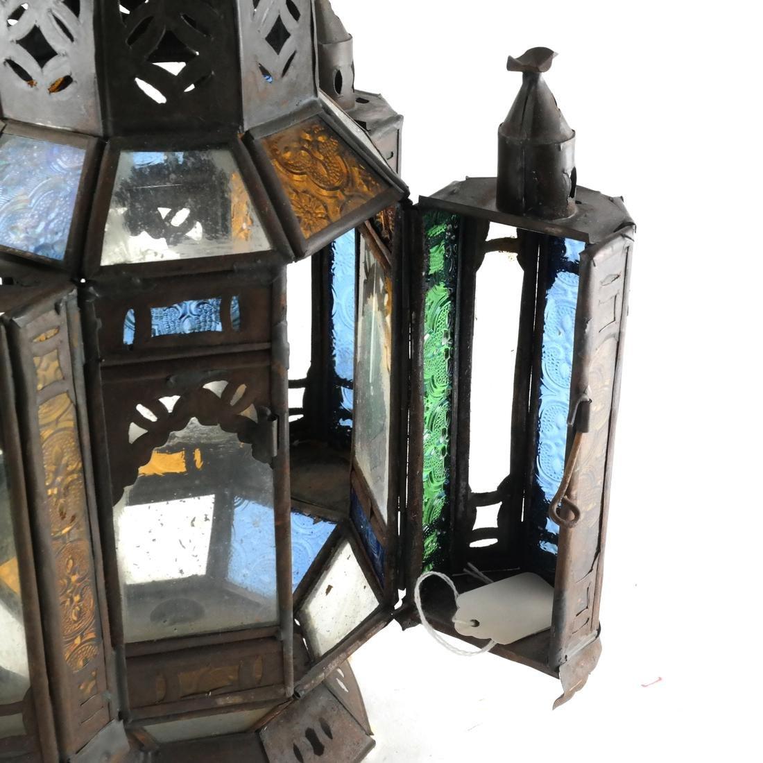 Turkish Colored Glass & Brass Lantern - 5