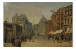 W Bevan Street Scene  Oil on Canvas