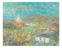 Edward Winston, O/C, Village in a Landscape