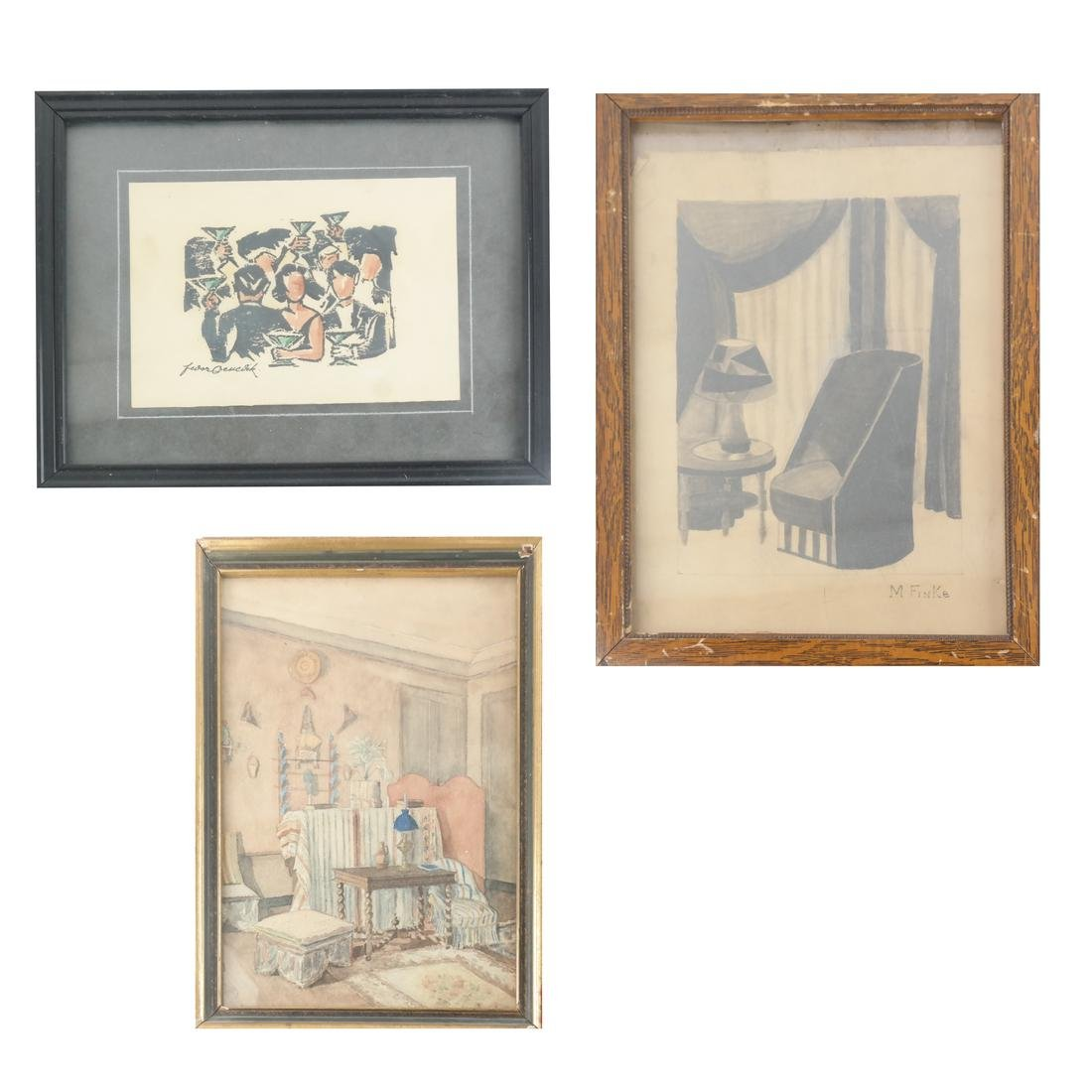 Three Interior Design Works On Paper