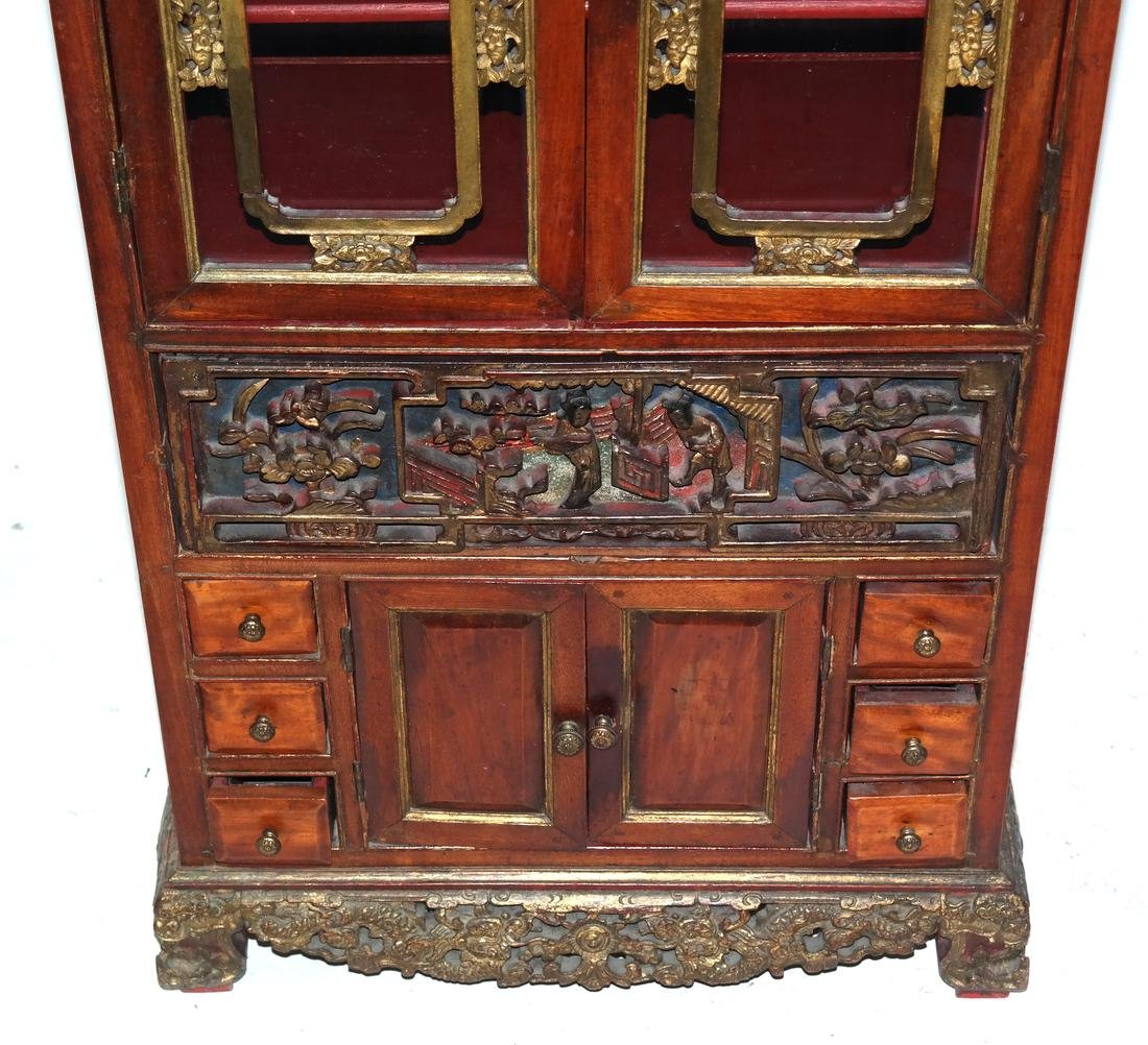 Antique Chinese Carved Spice Cabinet - 2