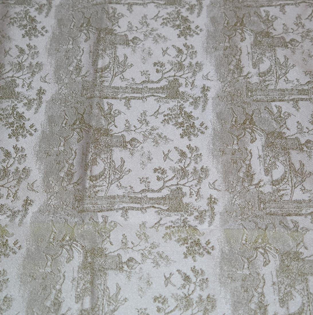 Pair Green Brocade, Gold Lamé Panels - 4
