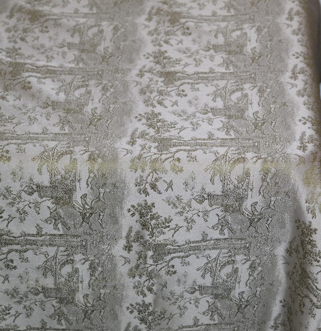 Pair Green Brocade, Gold Lamé Panels - 7