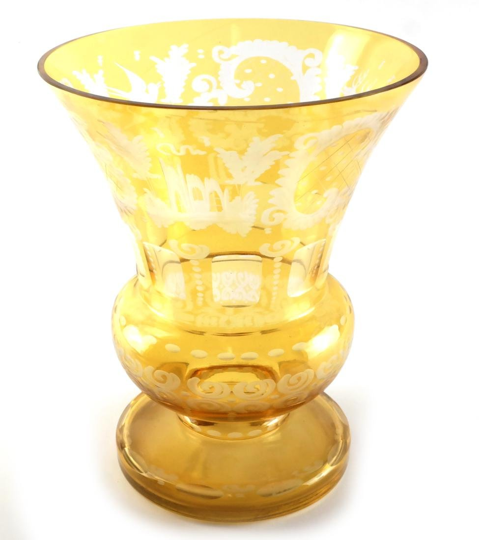 Bohemian Amber Cut, Etched Glass Vase