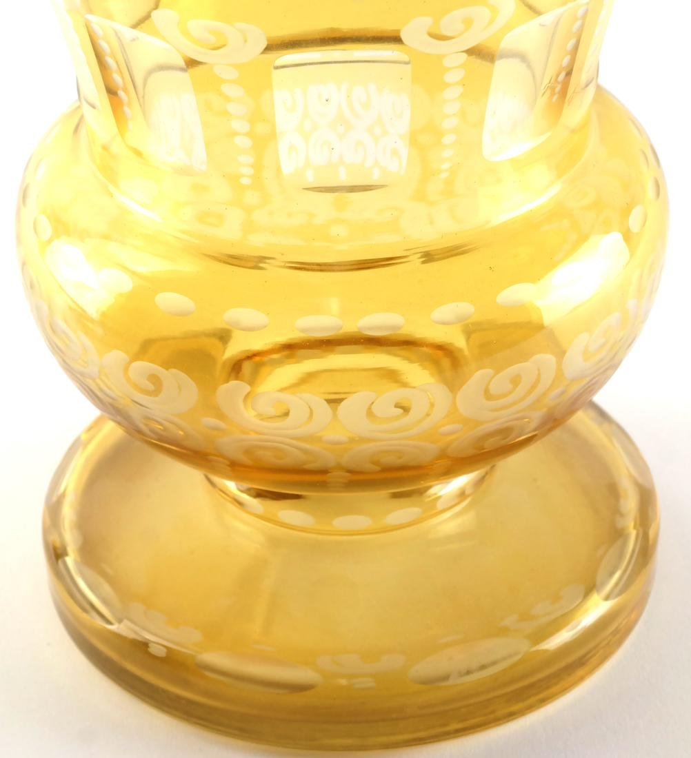 Bohemian Amber Cut, Etched Glass Vase - 2
