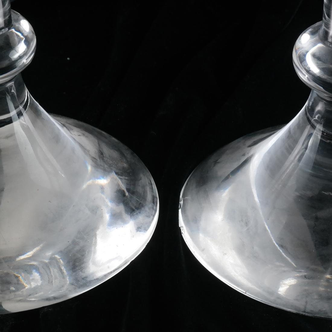 Pair Val St. Lambert Glass Candlesticks - 2