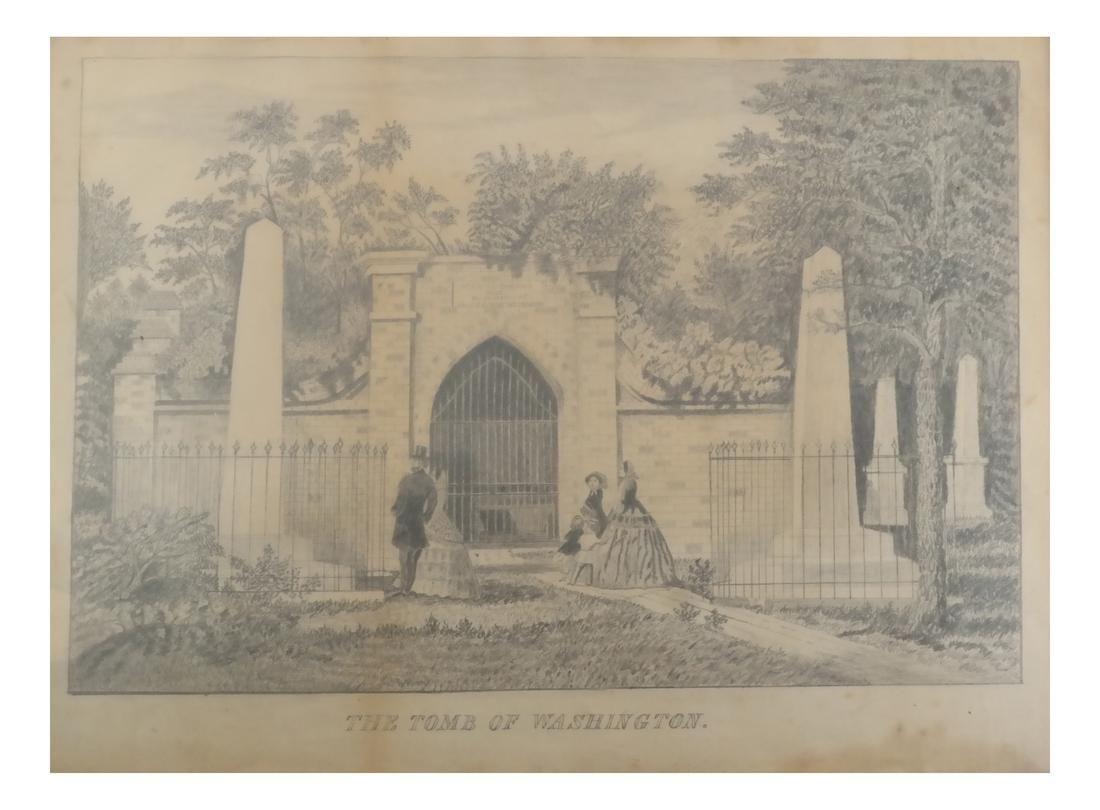 Ink Drawing - Tomb of Washington, Framed