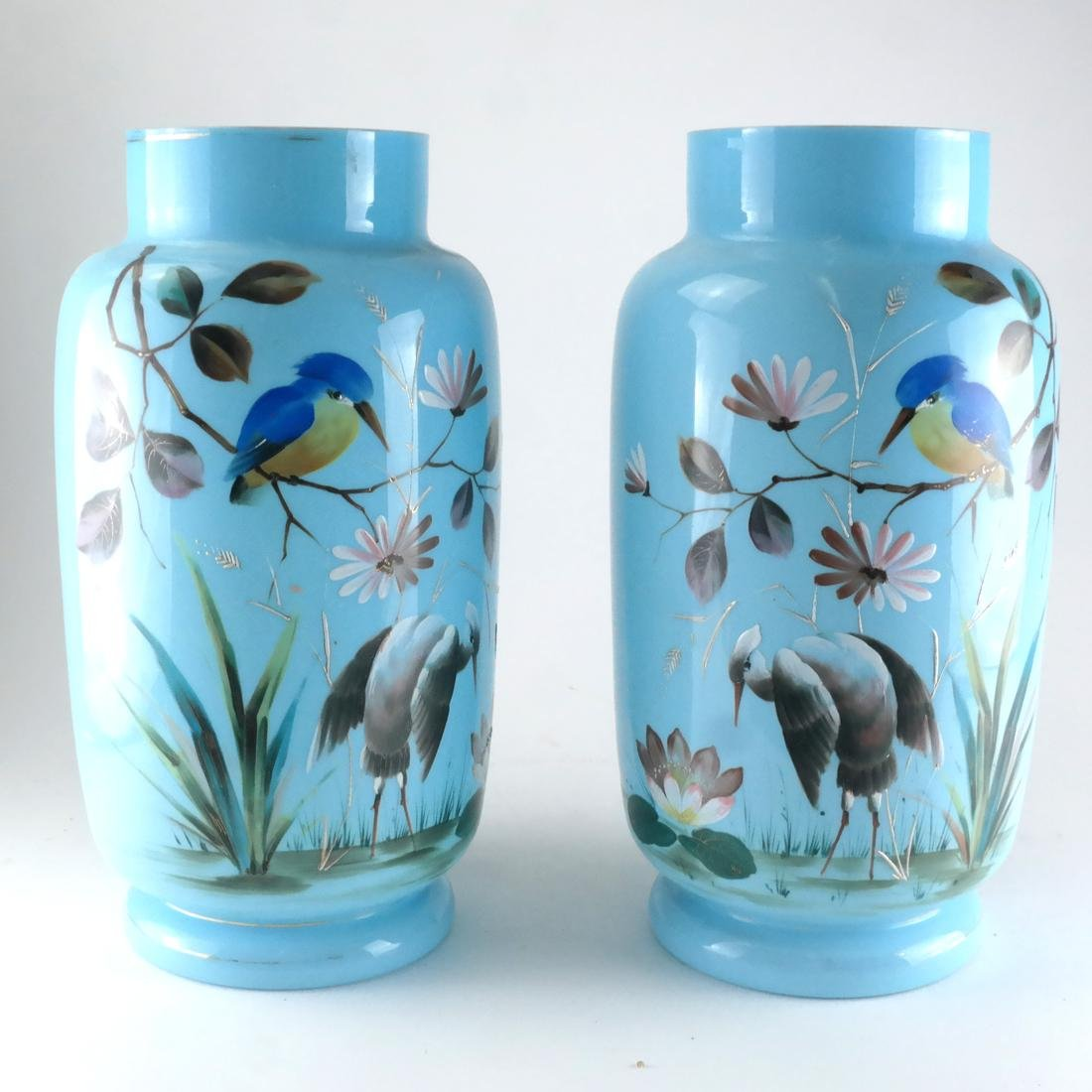Pair of Victorian Bristol Glass Vases