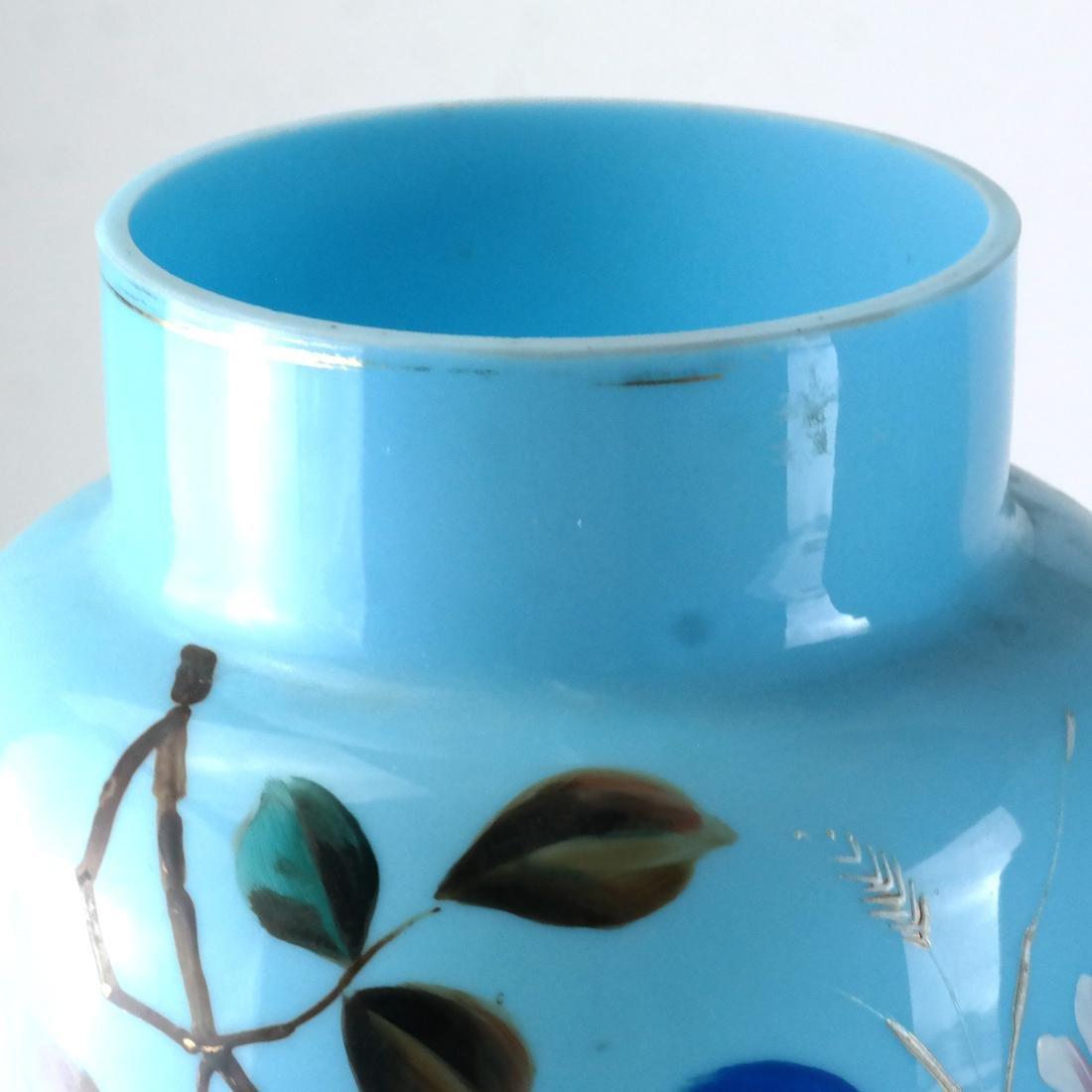 Pair of Victorian Bristol Glass Vases - 4