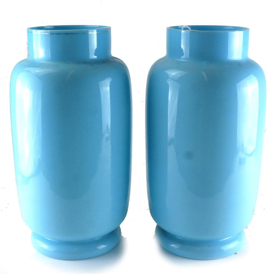 Pair of Victorian Bristol Glass Vases - 5