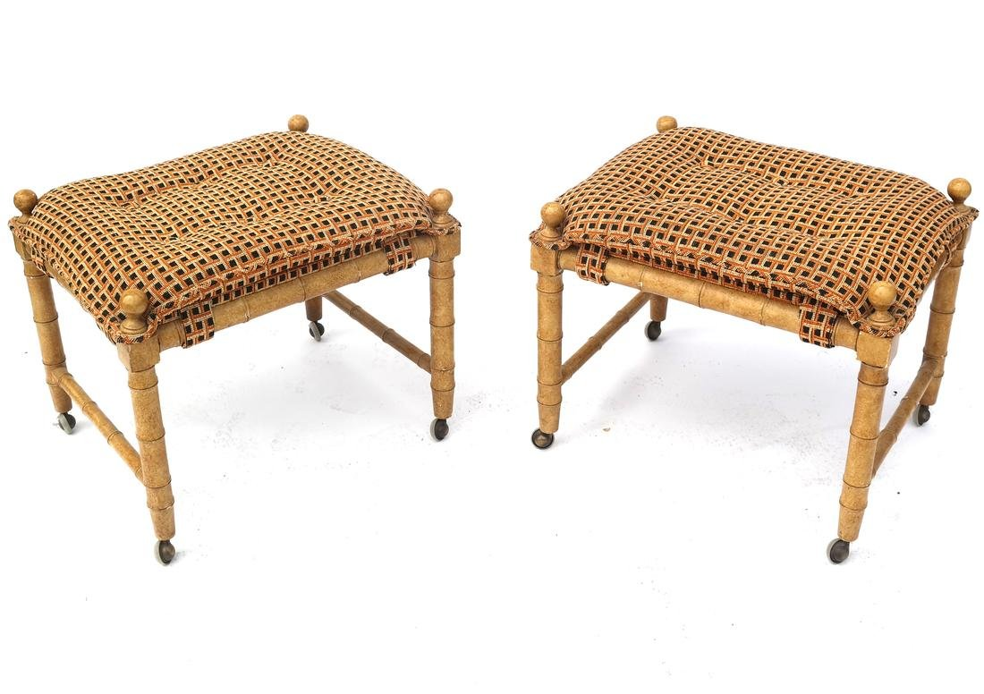 Pair of Faux Bamboo-Style Benches