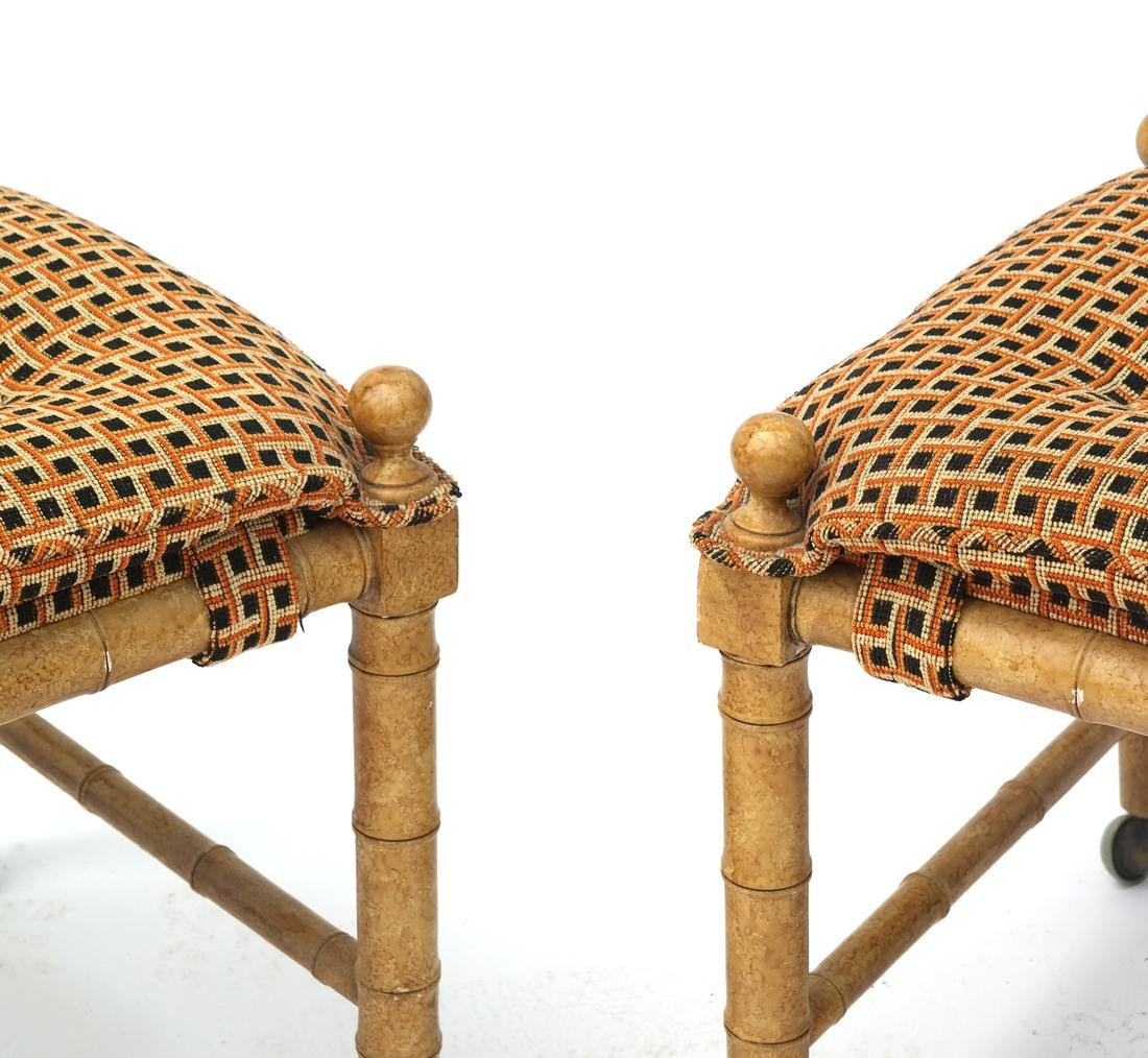 Pair of Faux Bamboo-Style Benches - 2