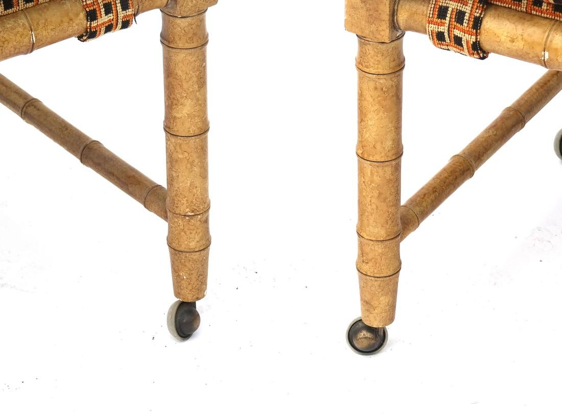 Pair of Faux Bamboo-Style Benches - 3