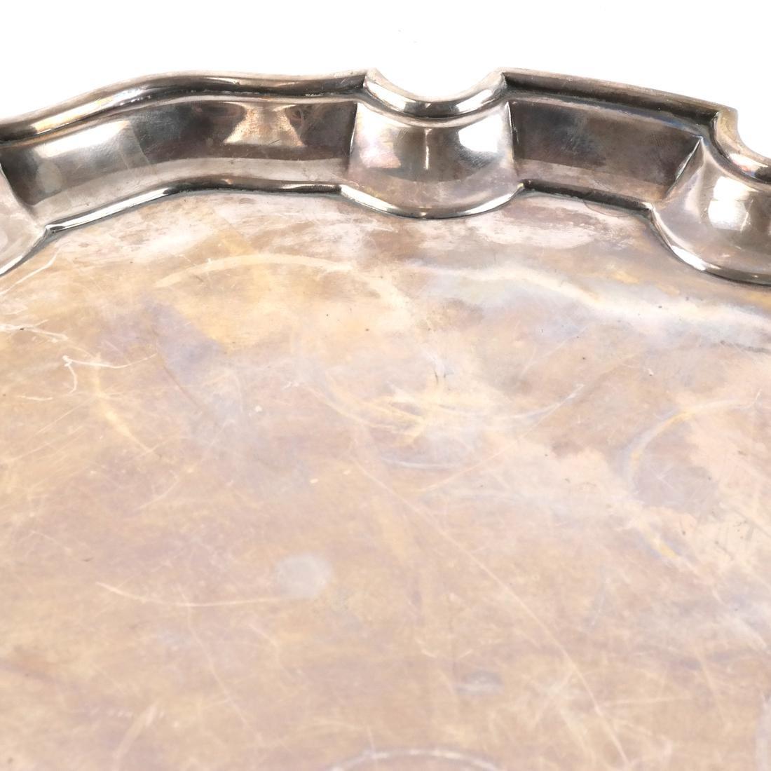 English Birmingham Silver Salver/Footed Tray - 2