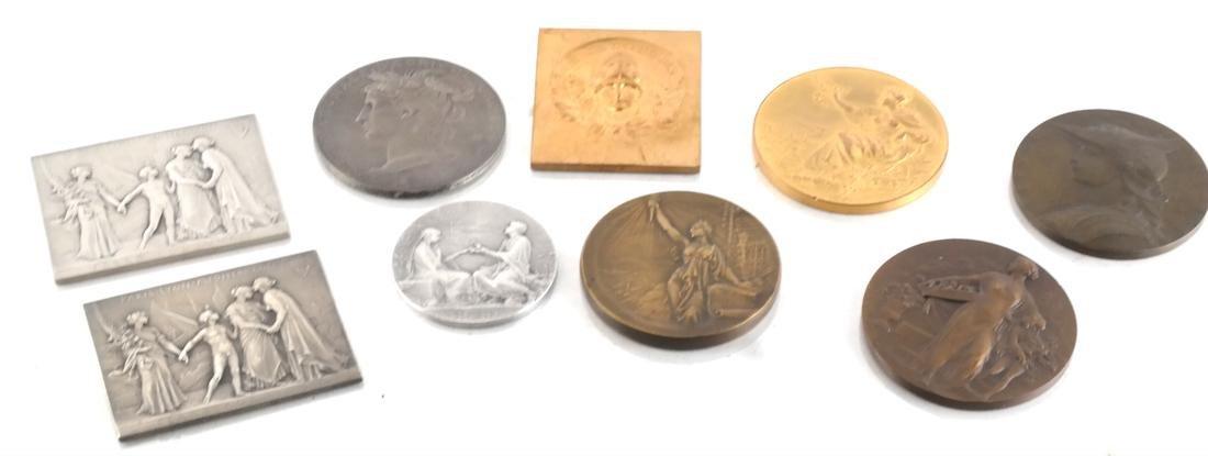 9 Art Nouveau Bronze Medals