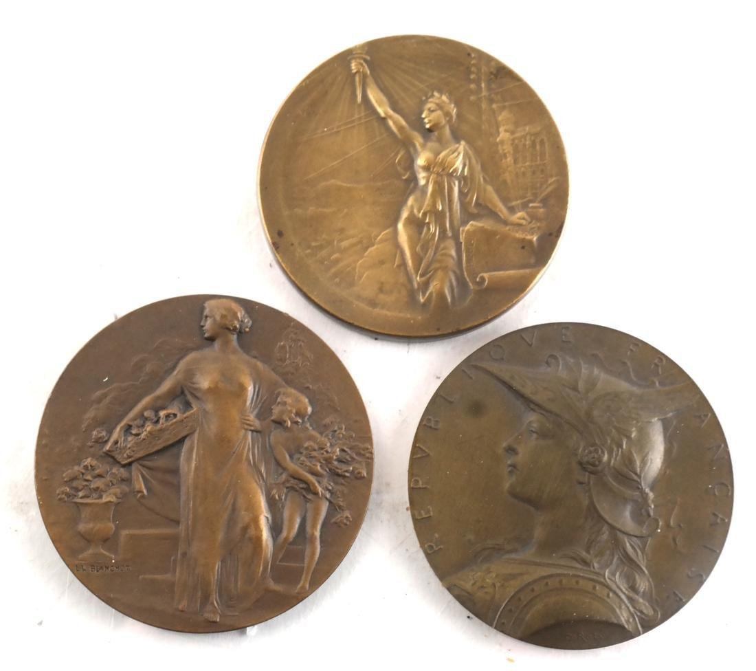 9 Art Nouveau Bronze Medals - 4