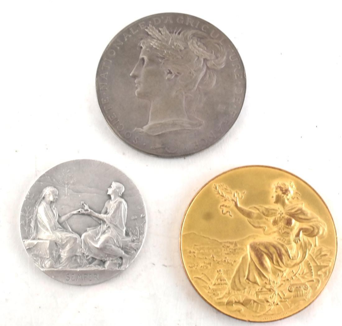 9 Art Nouveau Bronze Medals - 6